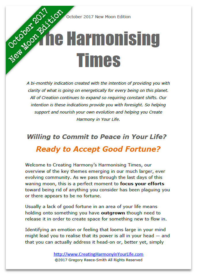 Harmonising Times Newsletter from Creating Harmony in Your Life October New Moon edition
