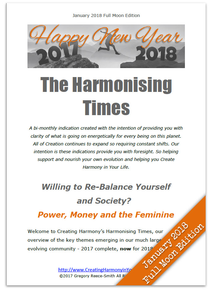 The Harmonising Times Newsletter from Creating Harmony in your Life January full moon 2018