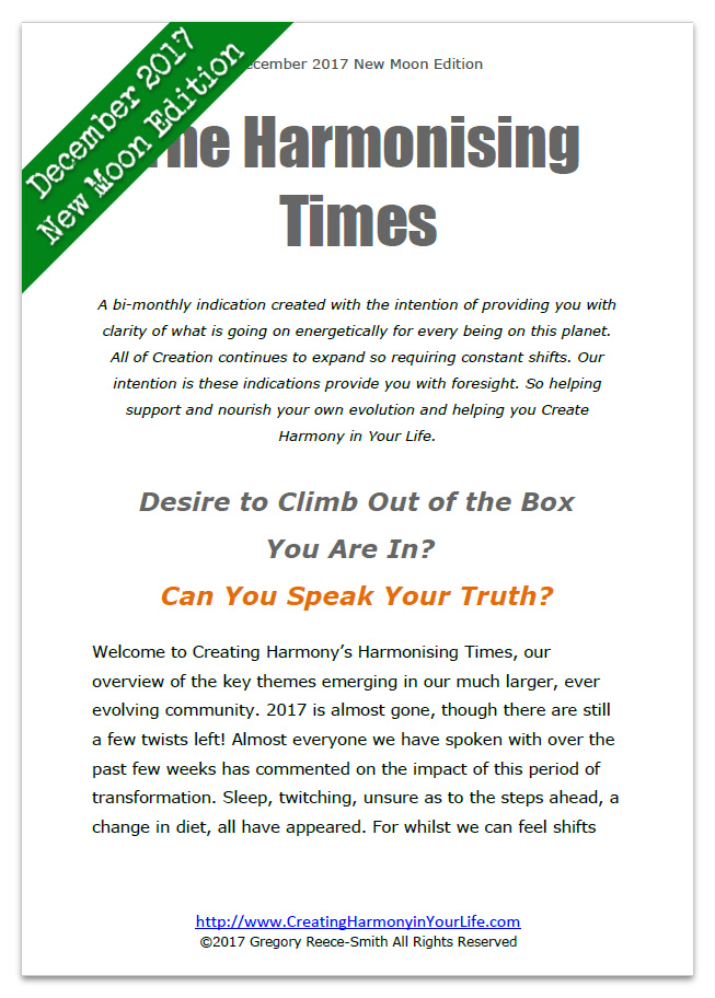 The Harmonising Times Newsletter from Creating Harmony in Your Life December New Moon 2017